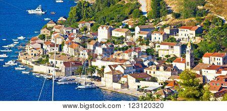 Town of Vis seafront at sunset panoramic view Dalmatia Croatia