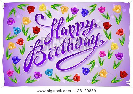 Violet Greeting Card Happy Birthday.  Illustration Vector Tulip