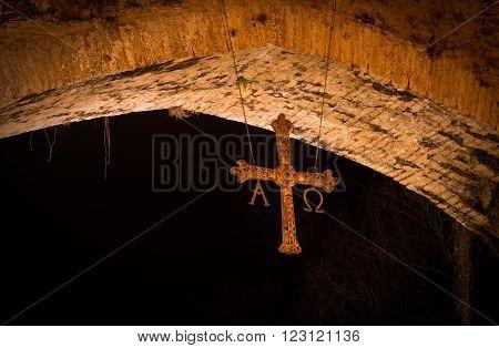 Cross famous Roman bridge in the city of Cangas de Onis Asturias Spain