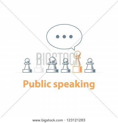 Public speaking, communication concept, linear design illustration
