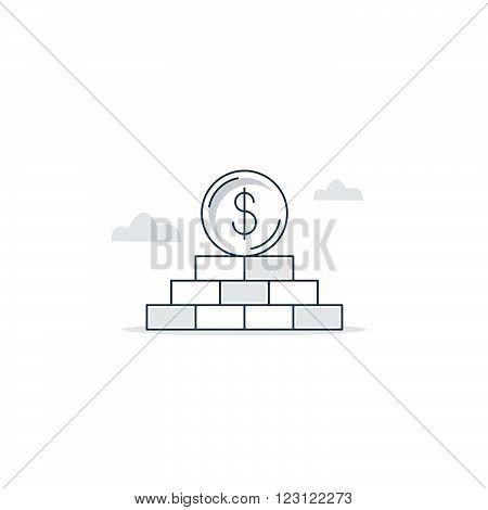 Finance basement. Solid income, linear design illustration