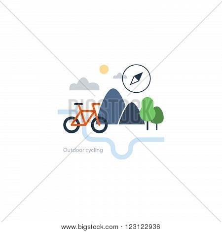 Outdoor cycling event concept, flat design illustration