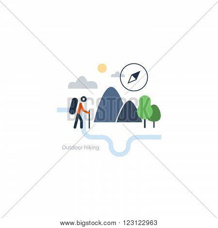 Hiking map, sport orienteering in cross country