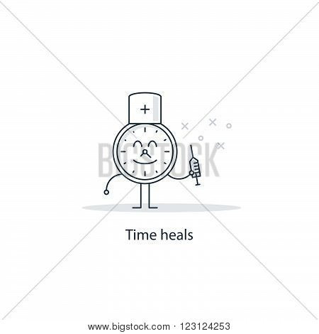 Time heals all wounds, linear design illustration