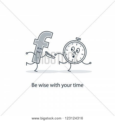Be wise with your time. Linear illustration