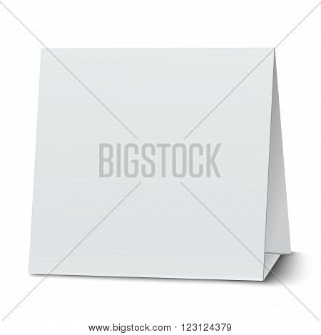 Square blank paper table card isolated on white