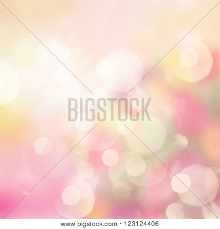 Gleaming multicolored festive background in pink shades with bokeh bubbles