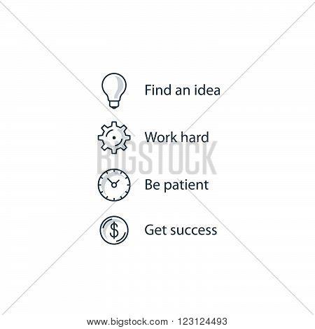 Steps to seccess ruls, linear design illustration