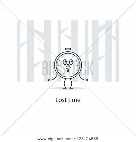 Lost time concept, wasted, linear design illustration