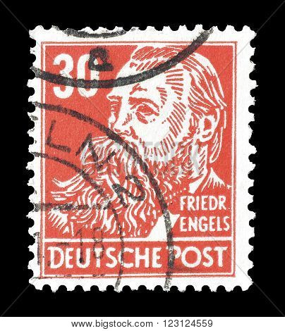 GERMANY - CIRCA 1948 : Cancelled postage stamp printed by Germany, that shows portrait of Friedrich Engels.