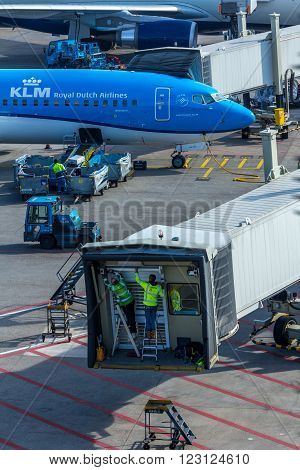 Amsterdam Schiphol Airport Noord Holland/the Netherlands - March 10 2016: KLM being unloaded at a gate