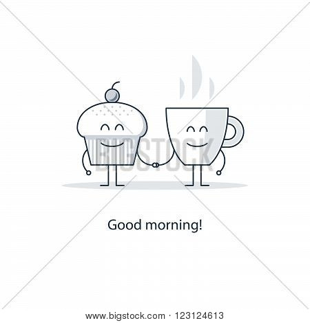 Good morning, tea time, flat design illustration