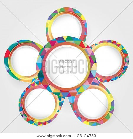 Bright round frames with space for your text. Vector illustrasion.