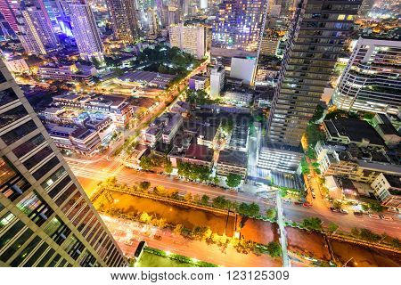 Bangkok, Thailand downtown cityscape from above.