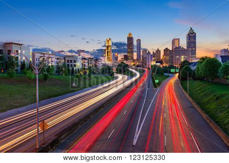 Atlanta, Georgia, USA downtown city skyline over Freedom Parkway.