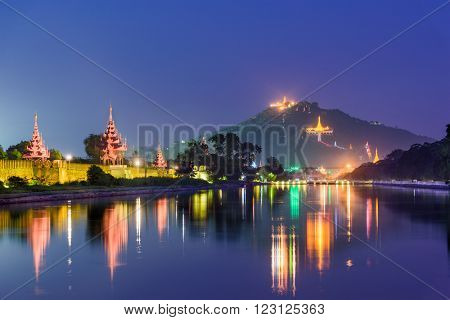 Mandalay, Myanmar at Mandalay Hill and the palace moat.