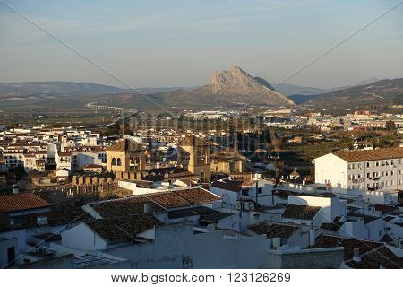 Looking over the town of Antequera towards Pena de los Enamorados or Lovers Rock
