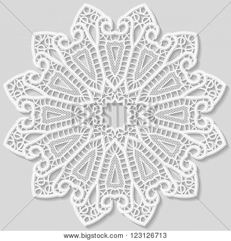 Lacy paper doily decorative flower decorative snowflake mandala embossed pattern arabic ornamentindian ornament 3D vector