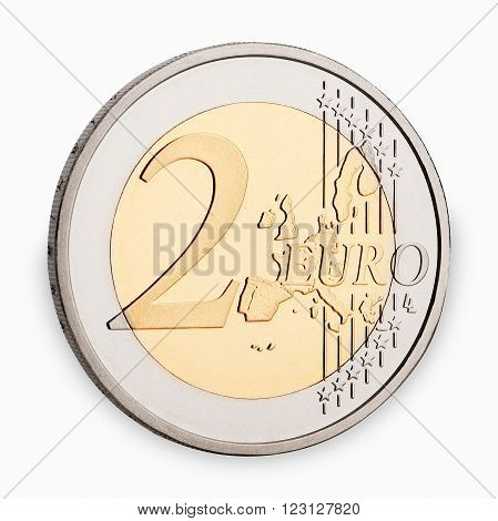 two euro coin frontside isolated on white background