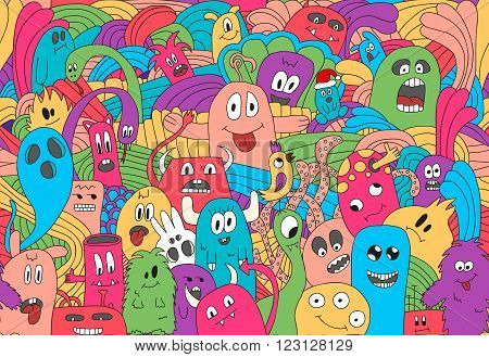 Doodle monsters seamless pattern in bright colors.