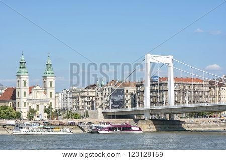 BUDAPEST, HUNGARY, JULY 10, 2015: View of Erzsebet Bridge and Danube river taken from Buda coast of Budapest, Hungary.