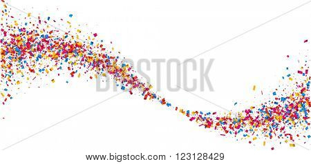 White paper background with wave of color confetti. Vector illustration.