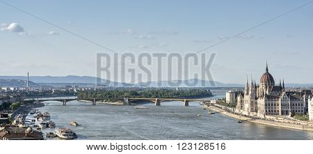 BUDAPEST, HUNGARY, JULY 10, 2015: Panoramic view Of Budapest City with Danube River and Hungarian Parliament Building.