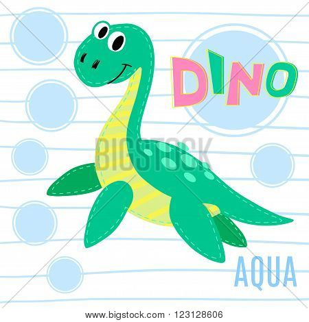 Water dinosaur on striped background vector illustration. Dinosaur
