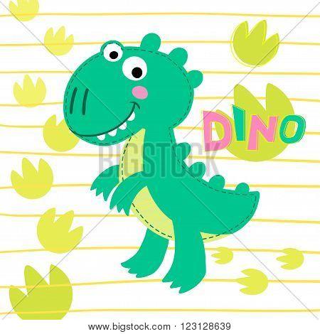 Dinosaur Rex on striped background vector illustration. Dinosaur