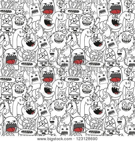 Doodle monsters seamless pattern in black and white colors.
