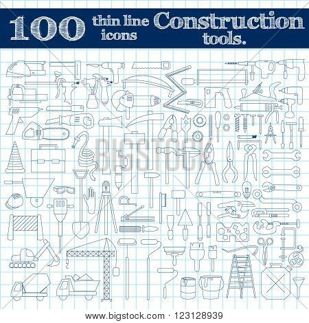 Construction icons. Thin line set of 100 in blue colors on notebook. Vector illustration.