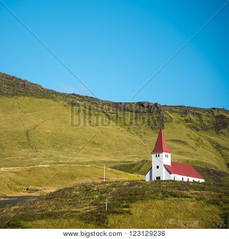 Church on hill in Vik Little town of Southern Iceland
