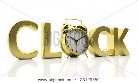 3D golden word Clock with alarm clock as letter
