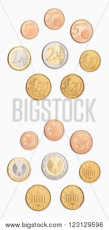 set of euro coins front and back side isolated on white background