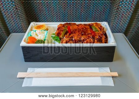 Japanese Lunch Box (Bento) on a Japanese Bullet train