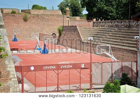 BELGRADE, SERBIA, JULY 6, 2014: Basketball courts inside Belgrade Fortress, the core and the oldest section of the urban area of Belgrade.