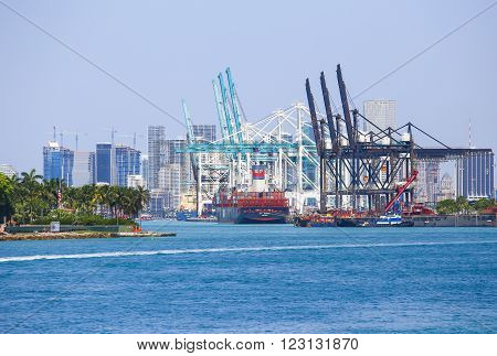 MIAMI BEACH, USA - MAY 9, 2015: The Port of Miami with big containerships and cranes in the back the skyline.