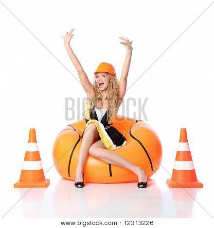 Happy Construction Girl