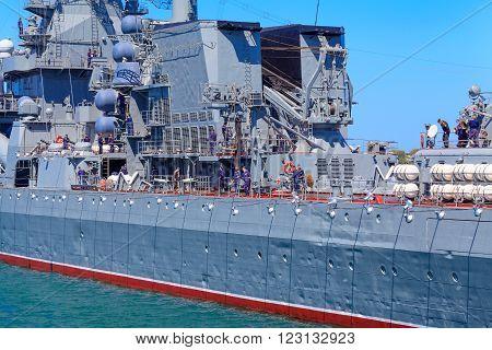 Sevastopol, Crimea - May 7, 2014: Sailors on