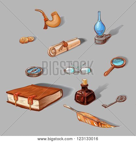 set of vintage objects: book clock kerosene lamp compass ancient coins glasses pen ink tube wrench scroll. Hand-drawn icons colored sketches