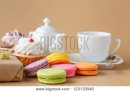 Sweet And Beautiful French Macaroonwith Gift Box. Dessert