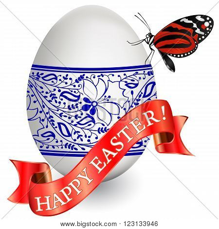Vector greeting card of Easter with egg ribbon and butterfly