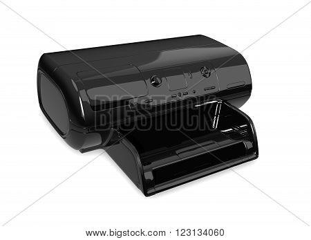 Black inkjet printer isolated on white 3D rendering