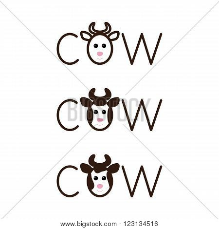 Set of cow lettering with lettering o in the shape of cow`s head with horns isolated on white background. Logo template. Design element