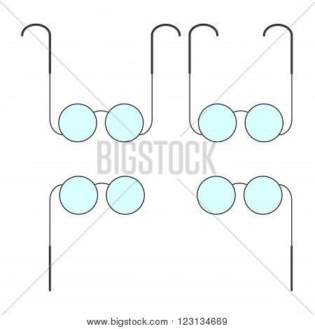 Set of grey colored old-fashioned glasses and pince-nez with blue lenses isolated on white background. Logo template design element