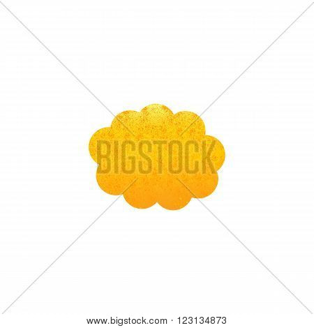 Shabby golden colored cloud isolated on white background. Logo template design element