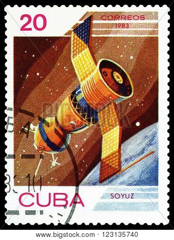 CUBA - CIRCA 1983: A stamp printed in Cuba shows flight of orbital manned space station Union the study of near-Earth space circa 1983