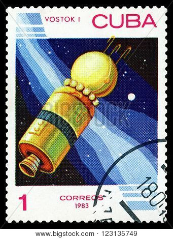 CUBA - CIRCA 1983: a stamp printed by Cuba shows East 1 the first spacecraft to lift man into orbit circa 1983
