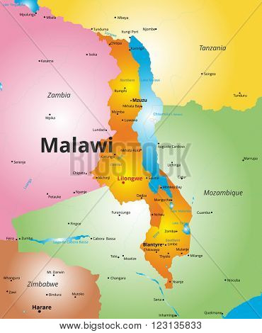 color map of Malawi country