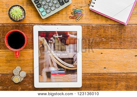 CHIANGMAI, THAILAND -JANUARY 10, 2016: Pinterest is a pinboard-style photo-sharing website that allows users to create and manage theme-based image collections like events interests and hobbies.